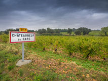 Chateauneuf du Pape sign and vineyards Royalty Free Stock Images