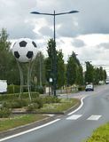 Chateauroux street - footbal ball. World Cup in Football - French 2016 - Decoration in the Chateauroux streets Stock Photos