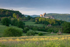 Chateaux Beynac at sunrise and Cabbanes Royalty Free Stock Photography
