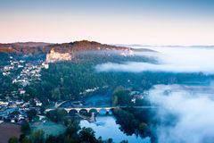 Chateau Castlenaud at dawn Dordogne Perigord Noir France Stock Photo