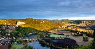 Chateaux Castlenaud en el amanecer Foto de archivo libre de regalías