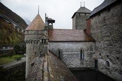 Chateaux de Chillon en Montreux Vaud, lago geneva, Suiza Fotografía de archivo libre de regalías
