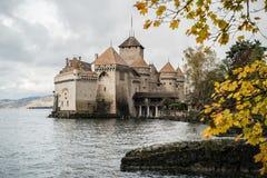 Chateaux DE Chillon in Montreux Vaud, het meer van Genève, Zwitserland Stock Foto's
