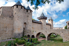 Chateaux de la cite and bridge at Carcassonne Royalty Free Stock Photo