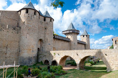 Chateaux de la cite and bridge on sunny day at Carcassonne Royalty Free Stock Image
