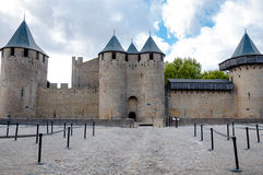 Chateaux de la cite fachade at Carcassonne Stock Images