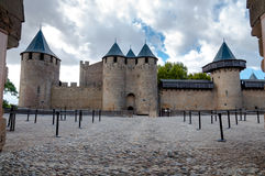 Chateaux de la cite fachade entrance at Carcassonne Stock Image