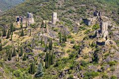 Lastours, France. The Chateaux de Lastours in Occitan Lastors, four so-called Cathar castles on a rocky spur above the French village of Lastours royalty free stock images