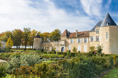 Chateau d Yquem, France. Chateaux de Yquem,  France, seen from the lovely rose-garden on a wonderful day Royalty Free Stock Image