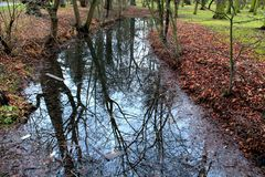 The Chateaux Garden Rivulet. Picture made in winter in Czechia Stock Photo