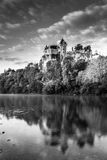 Chateau Monfort at sunrise Dordogne Perigord Noir France. Chateaux Monfort at sunrise Dordogne France in Black and White Royalty Free Stock Photography