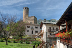 Chatelard village with castle Stock Images