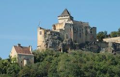 Chateu en el río Francia de Dordogne Imagen de archivo