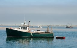 Chatham Harbor Lobster Boat Boat. A lobster boat is moored in Chatham Harbor, Massachusetts Stock Images