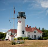 Chatham Lighthouse. Stands in the brilliant sunlight in Chatham, Massachusetts Royalty Free Stock Images