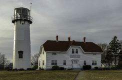 Chatham Lighthouse at winter afternoon before sunset royalty free stock images