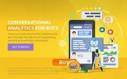 Chating和传讯概念 Chatbot和未来营销逻辑分析方法 抽象例证信使向量视窗 手机对话框  Chatbot busin 图库摄影