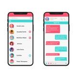 Chating e conceito da ilustração do vetor da mensagem Smartphone moderno do mensageiro social da rede isolado ilustração stock