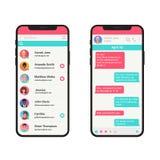 Chating et concept d'illustration de vecteur de transmission de messages Smartphone moderne de messager social de réseau d'isolem illustration stock