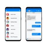 Chating et concept d'illustration de vecteur de transmission de messages Smartphone moderne de messager social de réseau d'isolem illustration de vecteur