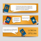 Chating icons horizontal banners template royalty free illustration