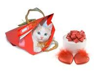 Chaton blanc en paquet rouge et boîte ronde et deux coeurs rouges Image libre de droits