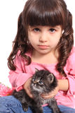 Chaton de fixation de petite fille Photographie stock
