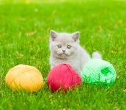 Chaton mignon jouant avec des boucles de fil sur l'herbe verte Images stock