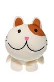chaton pelucheux au-dessus de blanc de jouet de sourire Photographie stock