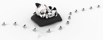 Chaton robotique, ligne de souris Photo libre de droits