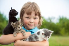 Chaton sur le bras du garçon dehors, enfant énorme son animal familier d'amour Image stock
