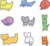 Chatons drôles colorés minimaux illustration de vecteur