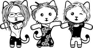 Chatons noirs et blancs modernes Partie 3 filles illustration libre de droits