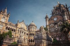 Chatrapati Shivaji Terminus earlier known as Victoria Terminus. In Mumbai, India. Vintage color filter applied Stock Image