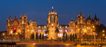 Chatrapati Shivaji Terminus earlier known as Victoria Terminus in Mumbai, India. Ninght panorama Royalty Free Stock Photo