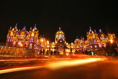 Chatrapati Shivaji Terminus, Mumbai  illuminated at night Stock Image