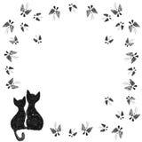 Chats avec des papillons Image libre de droits