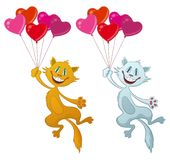 Chats avec Valentine Balloons Photo libre de droits