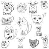 Chats, chiens et ensemble tirés par la main de souris Photo libre de droits