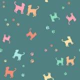 Chats colorés et modèle sans couture de silhouette de traces illustration de vecteur