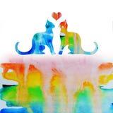 Chats d'amour d'arc-en-ciel d'aquarelle Photos libres de droits
