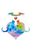 Chats d'amour d'arc-en-ciel d'aquarelle Images libres de droits