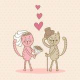 Chats d'amour de jour du mariage de carte illustration de vecteur