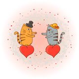 Chats dans l'amour Illustration romantique de griffonnage Photos stock