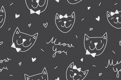 Chats dans le modèle d'amour Image stock