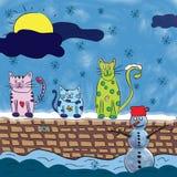 Chats en hiver Photographie stock libre de droits