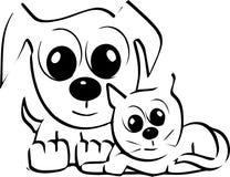Chats et chiens Image libre de droits