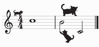 Chats et musique de vecteur Photo stock