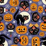 Chats fantasmagoriques de vintage et potirons de Halloween illustration libre de droits