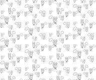 Chats fous de modèle Chat d'ensemble sur le blackground blanc illustration stock